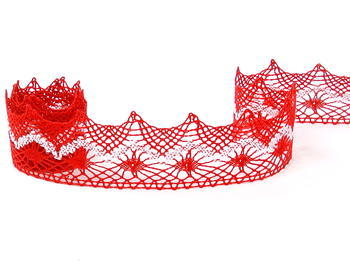 Bobbin lace No. 82157 light red/white | 30 m - 4