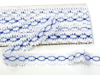 Paličkovaná krajka vzor 82176 bílá/modrá | 30 m - 4