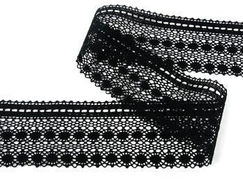 Paličkovaná krajka vzor 82240 černá | 30 m - 4