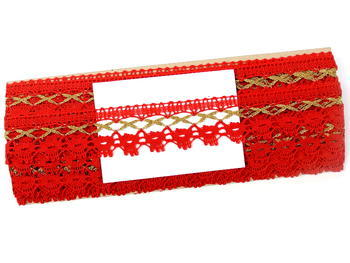 Bobbin lace No. 82293 light red/gold | 30 m - 4