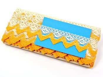 Bobbin lace No. 82334 ecru/dark yellow | 30 m - 4