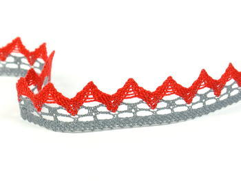Paličkovaná krajka vzor 82352 šedá/červená | 30 m - 4