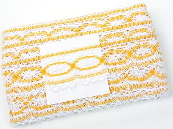 Paličkovaná krajka vzor 75037 bílá/tmavě žlutá |  30 m - 5