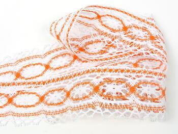 Paličkovaná krajka 75037 bavlněná, šířka57mm, bílá/oranžová - 5