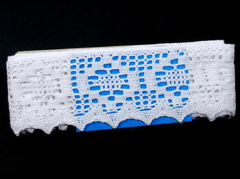 Paličkovaná krajka vzor 75059 bílá | 30 m - 5
