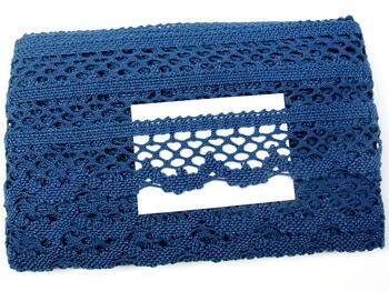 Cotton bobbin lace 75067, width 47 mm, ocean blue - 5