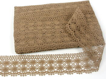 Cotton bobbin lace 75076, width 53 mm, dark beige - 5