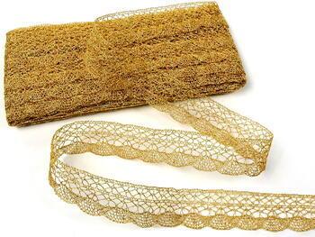 Metalic bobbin lace 75077, width32 mm, Lurex gold - 5