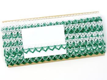 Paličkovaná krajka vzor 75087 bílá/světle zelená | 30 m - 5