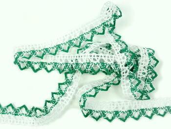 Paličkovaná krajka 75087 bavlněná, šířka19mm, bílá/sv.zelená - 5