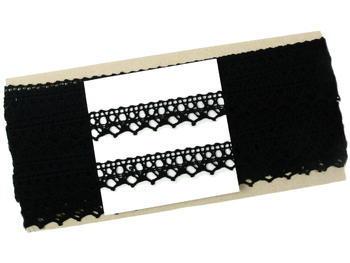 Paličkovaná krajka vzor 75087 černá | 30 m - 5