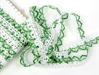 Paličkovaná krajka 75087 bavlněná, šířka19mm, bílá/trávová zelená - 5