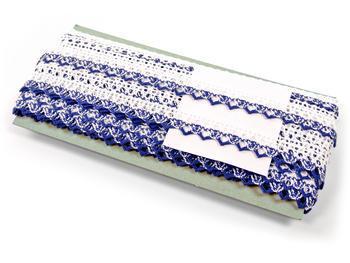 Paličkovaná krajka vzor 75087 bílá/modrá | 30 m - 5