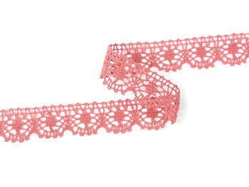 Cotton bobbin lace 75088, width 27 mm, rose - 5