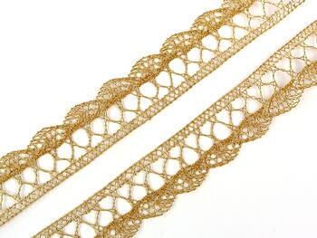 Paličkovaná krajka 75099 metalická, šířka18 mm, Lurex zlatý - 5