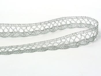 Paličkovaná krajka 75099 metalická, šířka18 mm, Lurex stříbrný - 5