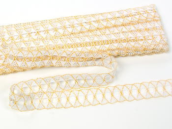 Bobbin lace No. 75169 white/dark yellow | 30 m - 5