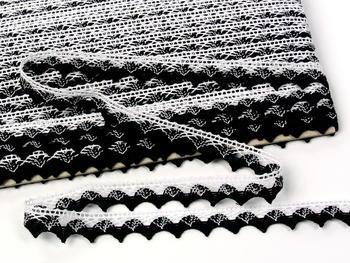 Paličkovaná krajka vzor 75191 bílá/černá | 30 m - 5
