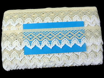Paličkovaná krajka vzor 75222 režná/světle lněná/bílá | 30 m - 5