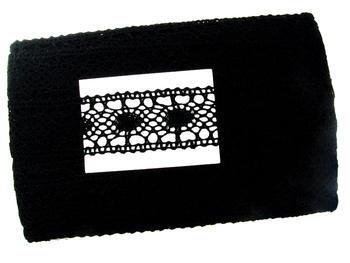Paličkovaná vsadka vzor 75235 černá | 30 m - 5
