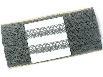 Paličkovaná krajka vzor 75239 šedá III. | 30 m - 5