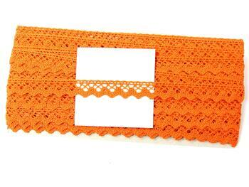 Paličkovaná krajka 75259 bavlněná, šířka17 mm, sytě oranžová - 5
