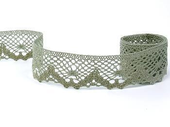 Cotton bobbin lace 75261, width 40 mm, dark linen gray - 5