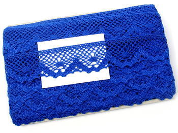 Paličkovaná krajka vzor 75261 královská modrá | 30 m - 5