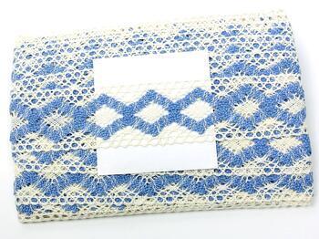 Cotton bobbin lace insert 75264, width43mm, ivory/sky blue - 5