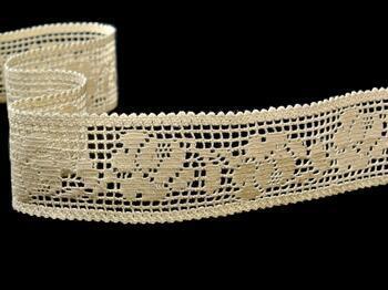 Cotton bobbin lace insert 75269, width53mm, ecru - 5