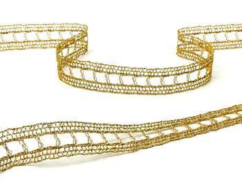 Metalic bobbin lace insert 75281, width18mm, Lurex gold - 5
