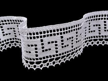 Cotton bobbin lace 75303, width 75 mm, white - 5