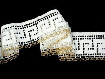 Cotton bobbin lace 75303, width 75 mm, white/Lurex gold - 5