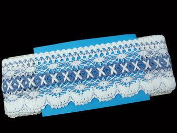 Paličkovaná krajka vzor 75335 bílá/blankytně modrá | 30 m - 5