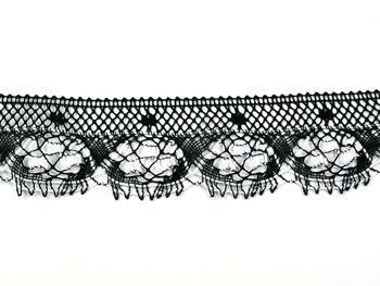 Paličkovaná krajka 75344 bavlněná, šířka56 mm, černá/bílá - 5