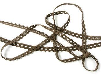 Cotton bobbin lace 75361, width 9 mm, light brown - 5