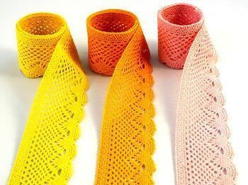 Paličkovaná krajka 75414 bavlněná, šířka55 mm, tm.žlutá - 5