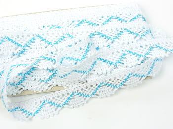 Paličkovaná krajka vzor 75423 bílá/tyrkysová | 30 m - 5