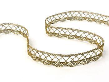 Metalic bobbin lace 75428, width 18 mm, Lurex gold antique - 5