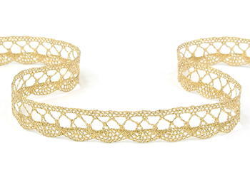 Bobbin lace No. 75428/75099 gold+white | 30 m - 5