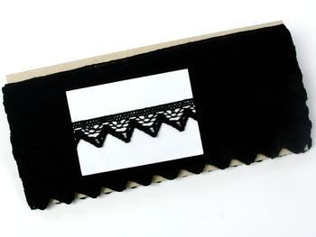 Paličkovaná krajka vzor 75469 černá | 30 m - 5