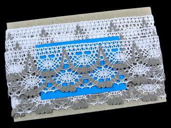 Paličkovaná krajka vzor 75532 bílá/tmavě lněná   30 m - 5