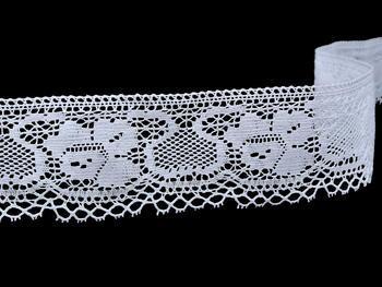 Paličkovaná krajka vzor 75583 bílá | 30 m - 5