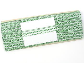 Paličkovaná krajka vzor 81215 bílá/trávová zelená | 30 m - 5