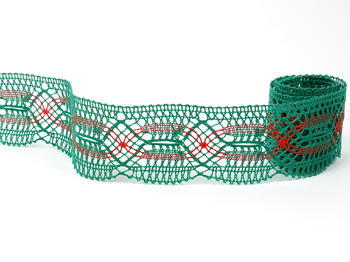 Bobbin lace No. 81919 dark green/light red | 30 m - 5