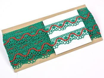 Paličkovaná krajka vzor 82129 světle zelená/červená | 30 m - 5