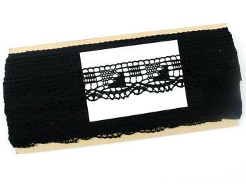 Paličkovaná krajka vzor 82170 černá | 30 m - 5