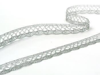 Paličkovaná krajka 75099 metalická, šířka18 mm, Lurex stříbrný - 6