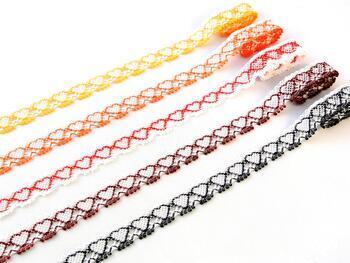 Paličkovaná krajka 75133 bavlněná, šířka19 mm, bílá/červená - 6