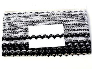 Paličkovaná krajka vzor 75191 bílá/černá | 30 m - 6